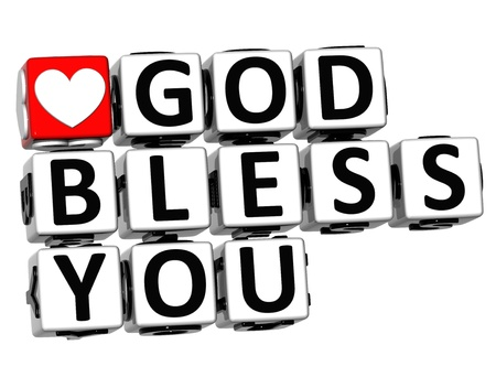 3D God Bless You Button Click Here Block Text over white background  Stock Photo