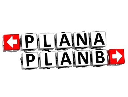 3D Plan A Plan B Button Click Here Block Text over white background  photo