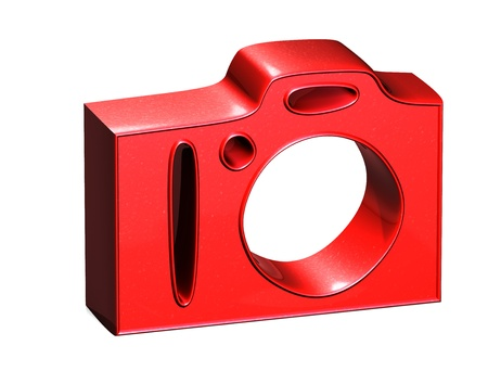 3D Photo Camera Red Sign on white background photo