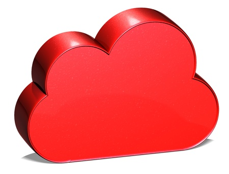 3D Cloud Red Sign on white background Stock Photo