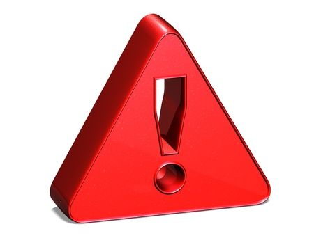 3D Attention Red Sign on white background photo