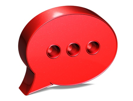 3D Speech Bubble Red Sign on white background photo