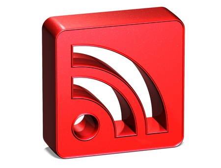 3D Rss Red Sign on white background photo