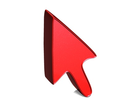 3D Arrow Red Sign on white background photo