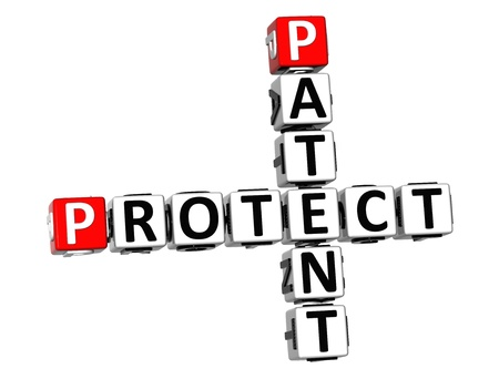 patent: 3D Patent Protect Crossword on white background
