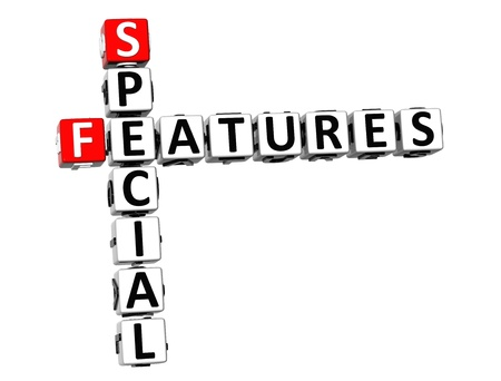 features: 3D Special Features Crossword on white background