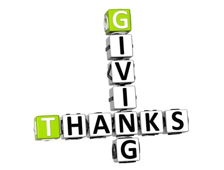 3D Thanks Giving Crossword on white background photo