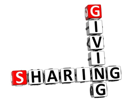 3D Sharing Giving Crossword on white background photo