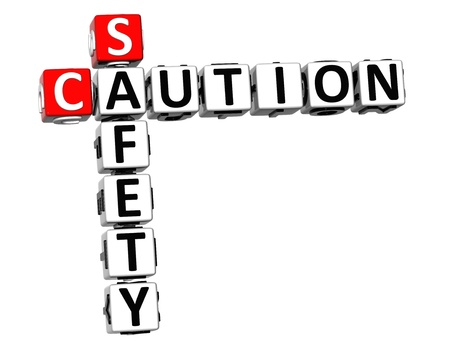 3D Caution Safety Crossword on white background photo