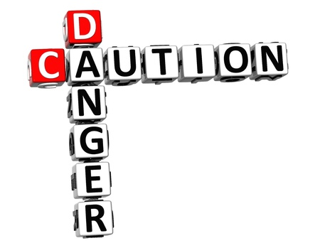 3D Caution Danger Crossword on white background photo