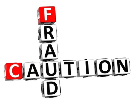 3D Caution Fraud Crossword on white background photo