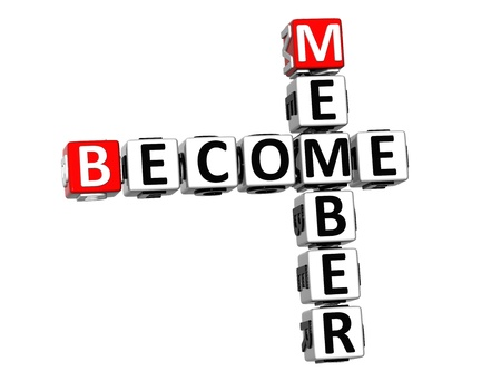 become: 3D Become Member Crossword on white background