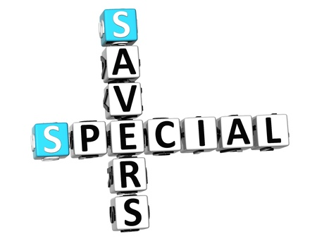 3D Special Savers Crossword on white background photo