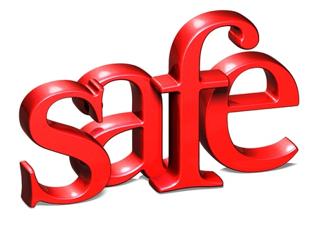 3D Word Safe on white background photo