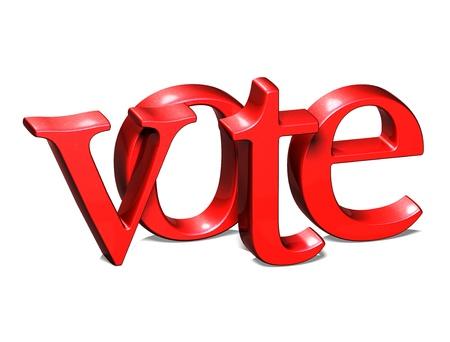 vote here: 3D Word Vote on white background
