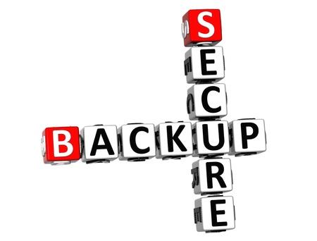 secure backup: 3D Secure Backup Crossword on white background