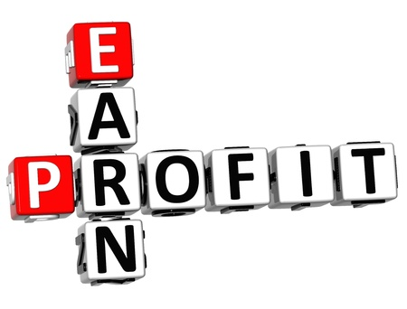 vision loss: 3D Earn Profit Crossword on white background