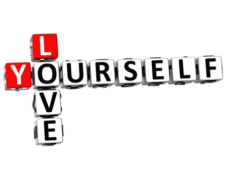 3D Love Yourself Crossword on white background Stock Photo - 18140615