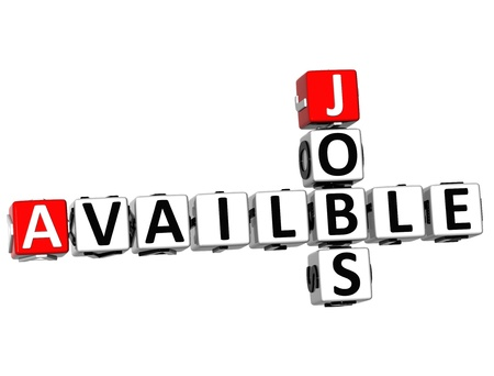 3D Jobs Availble Crossword on white background photo