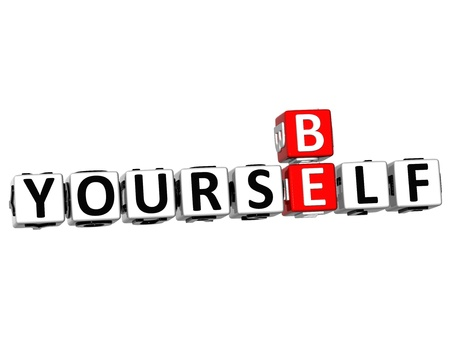 be: 3D Be Yourself Crossword on white background
