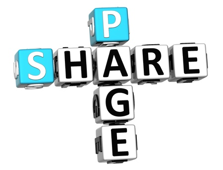 3D Share Page Crossword on white background photo