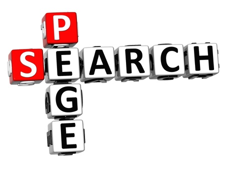 3D Search Page Crossword on white background photo