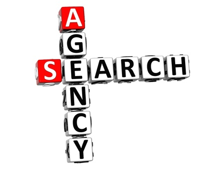 3D Agency Search Crossword on white background Stock Photo - 18140612