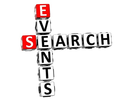 3D Events Search Crossword on white background photo
