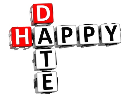 wariety: 3D Happy Date Crossword on white background Stock Photo