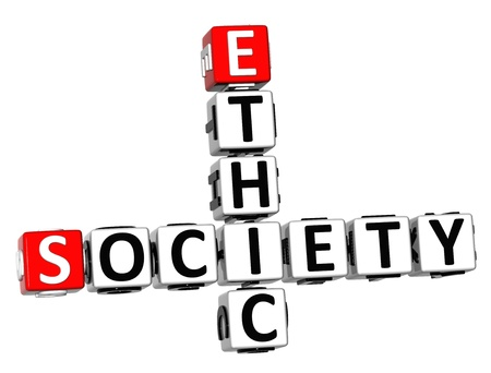 3D Ethic Society Crossword on white background Stock Photo - 18140692