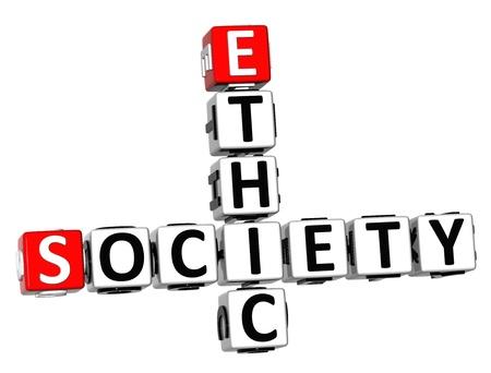 ethic: 3D Ethic Society Crossword on white background