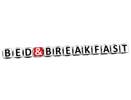 breakfast in bed: 3D Bed And Breakfast Button Click Here Block Text over white background