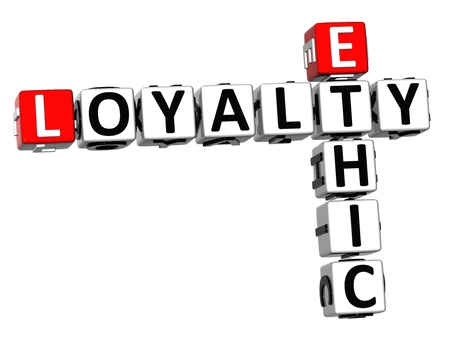 ethic: 3D Ethic Loyalty Crossword on white background Stock Photo