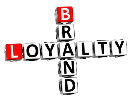 3D Brand Loyalty Crossword on white background photo