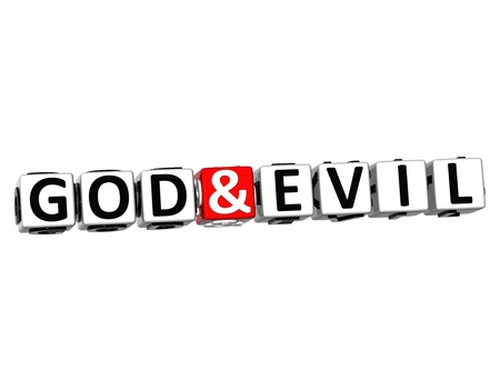 3D God And Evil Button Click Here Block Text over white background  photo