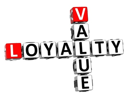 3D Value Loyalty Crossword on white background photo