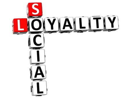 3D Social Loyalty Crossword on white background photo