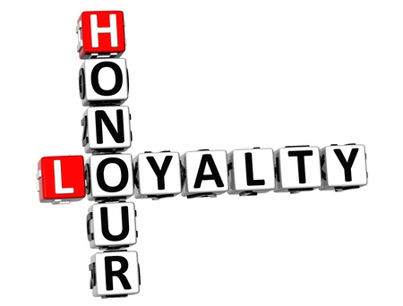 3D Honour Loyalty Crossword on white background photo