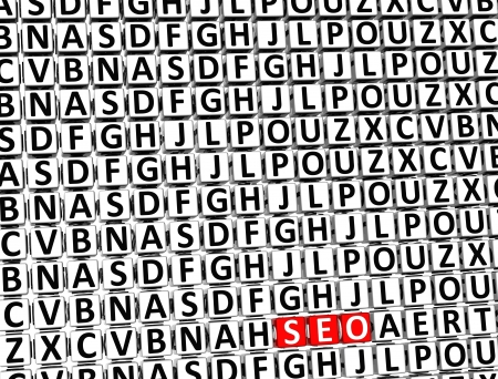 3D Word Seo inside different letters blocks Stock Photo - 18198235