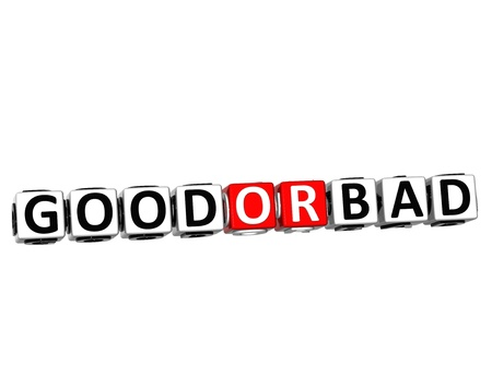 3D Good Or Bad Button Click Here Block Text over white background Stock Photo - 18198192