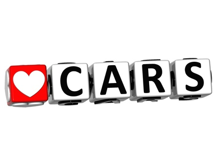 3D Love Cars Button Click Here Block Text over white background photo