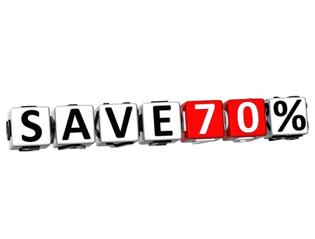 3D Save 70% Button Click Here Block Text over white background Stock Photo - 18247311