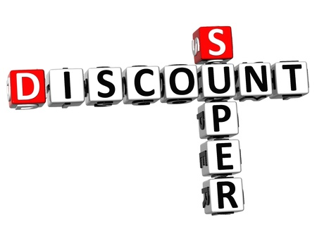 3D Super Discount Crossword on white background photo