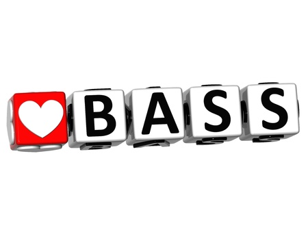 wariety: 3D Love Bass  Button Click Here Block Text over white background