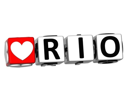3D Love Rio Button Click Here Block Text over white background photo