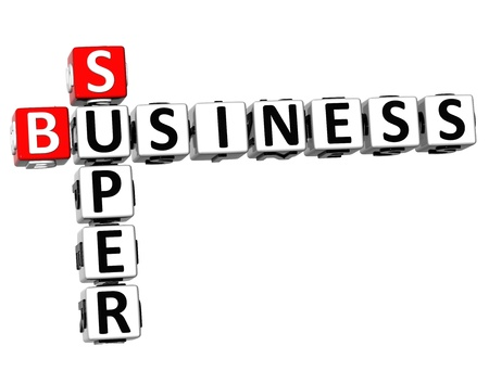 3D Super Business Crossword on white background photo