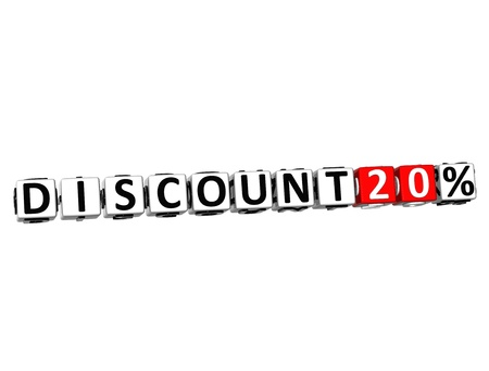 3D Discount 20% Button Click Here Block Text over white background photo