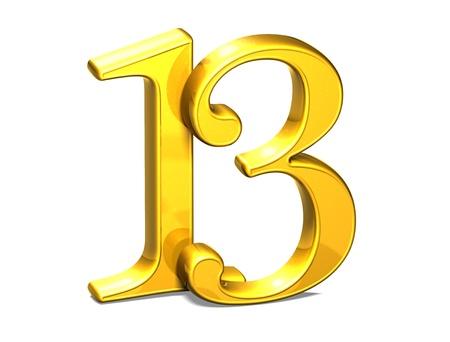 thirteen: 3D Gold Thirteen on white background  Stock Photo