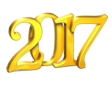 3D Gold Year 2017 on white background  Stock Photo