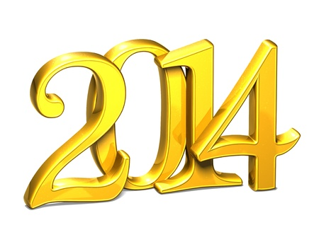 wariety: 3D Gold Year 2014 on white background  Stock Photo